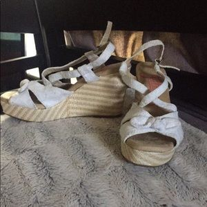 Shoes - White and tan wedges
